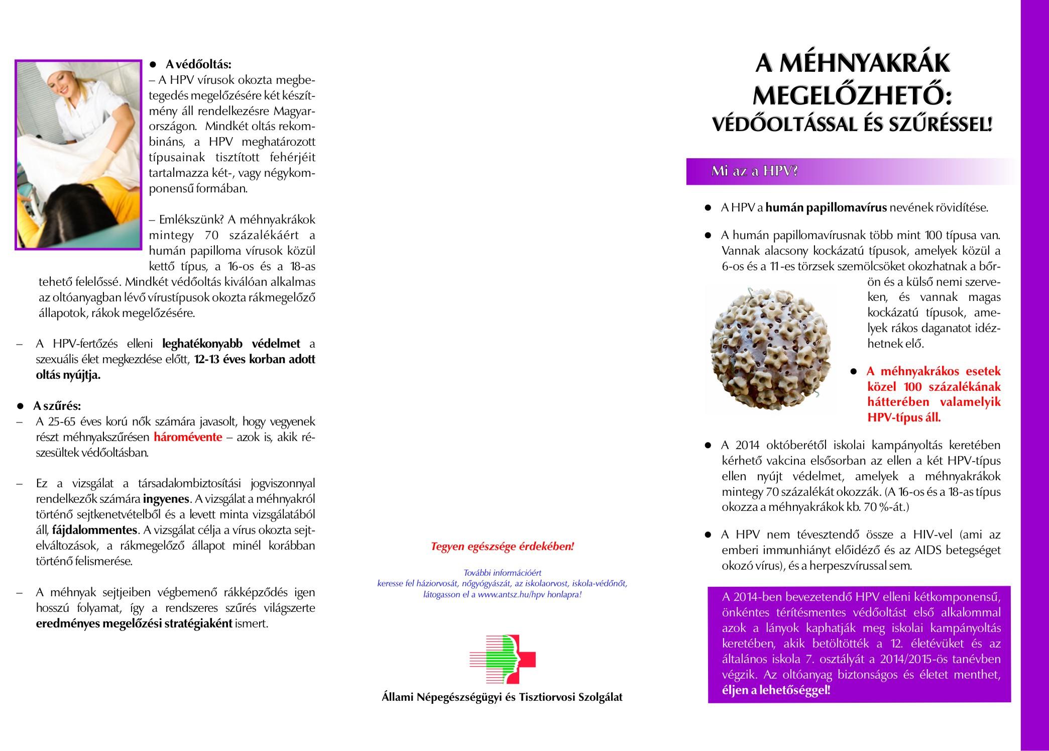 humán papillomavírus megelőzése és ellenőrzése